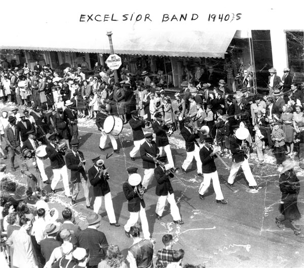 Excelsior Marching Band in the 1940s