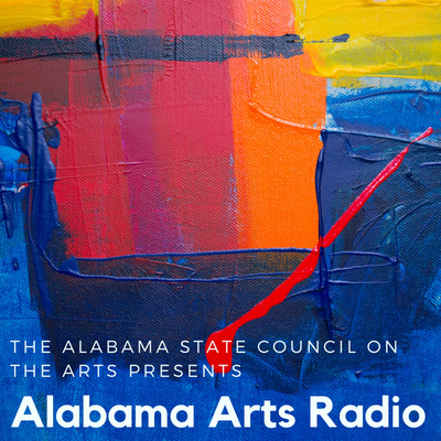 A splotchy painting with words over top reading Alabama Arts Radio